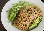A delicious quick diabetic meal of whole wheat sesame noodles
